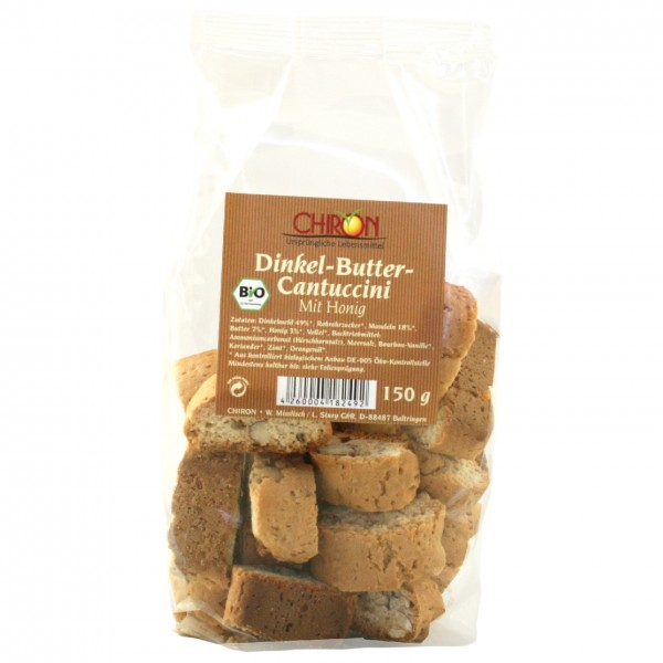 Bio Dinkel-Butter Cantuccini pur mit Honig 150g